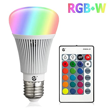 Zeben e26 led light bulb 10w rgb color changing dimmable rgbw led light bulbs daylight 6000k