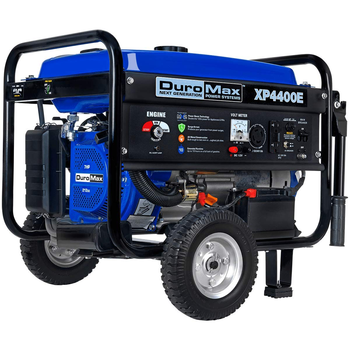 DuroMax XP4400E 4,400 Watt 7.0 HP OHV 4-Cycle Gas Powered Portable Generator with Wheel Kit and Electric Start product image