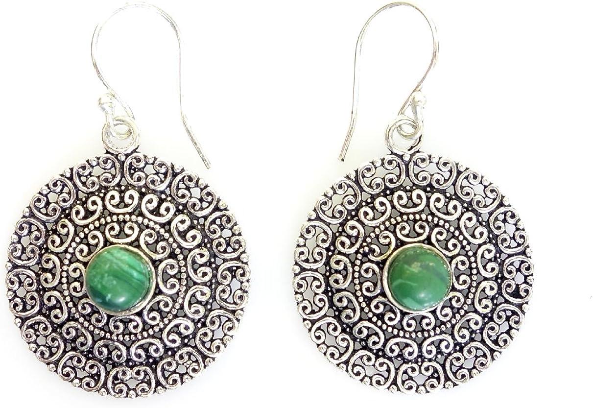 Plata oxidada moda cuelgue únicos hechos a mano de filigrana PIEDRAS PRECIOSAS Con Malaquita étnica del diseñador para la mujer por tibetanos plata