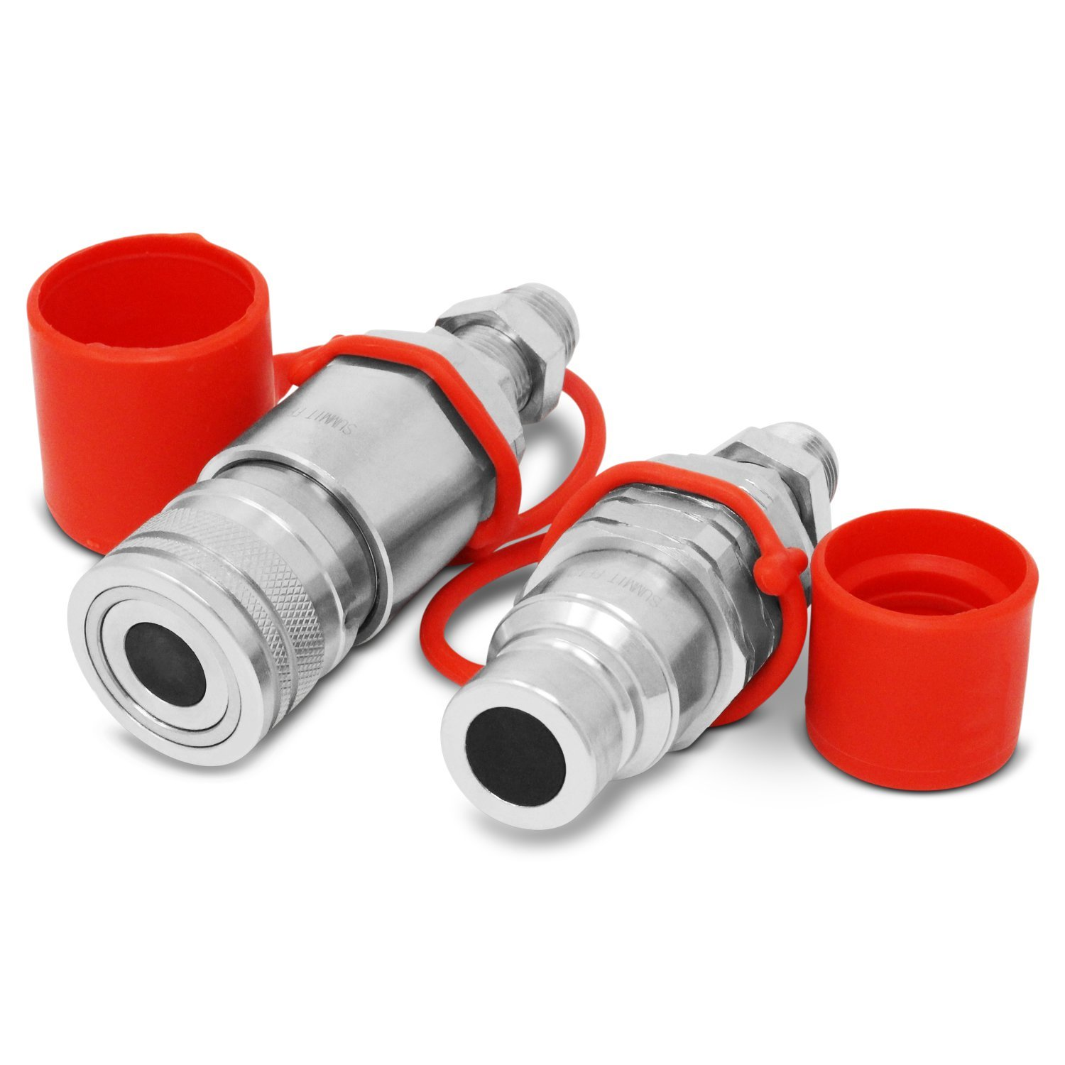 Flat Face Hydraulic Quick Connect Coupler, 8 JIC Bulkhead Skid Steer Mount