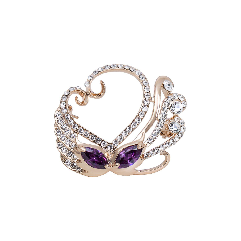 sourjas Elegant Jewelry Gold-Tone Purple Cubic Zircon Swan Love Heart Souvenir Present Brooch Mother's Pin