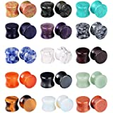 Longbeauty 15 Pairs Set Mixed Stone Saddle Ear Plugs Stretcher Expander Tunnels Ear Gauges Piercing Jewelry