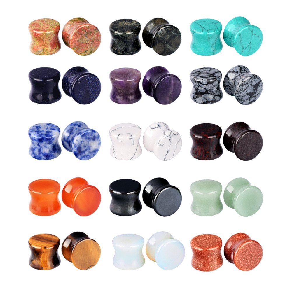 Longbeauty 15Pairs Mixed Stone Saddle Ear Plugs Stretcher Expander Tunnels Ear Gauges Piercing Jewelry 8MM