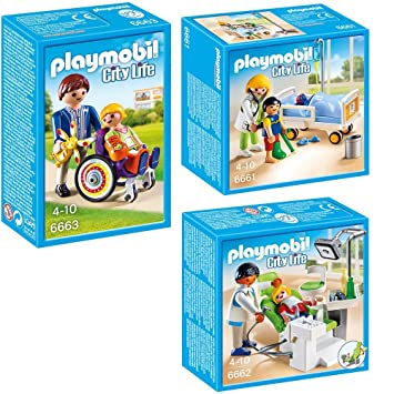 PLAYMOBIL® Set Hospita Infantil: 6661 Doctor con niño + 6662 Dentista con paciente + 6663 Niño en silla de ruedas: Amazon.es: Juguetes y juegos