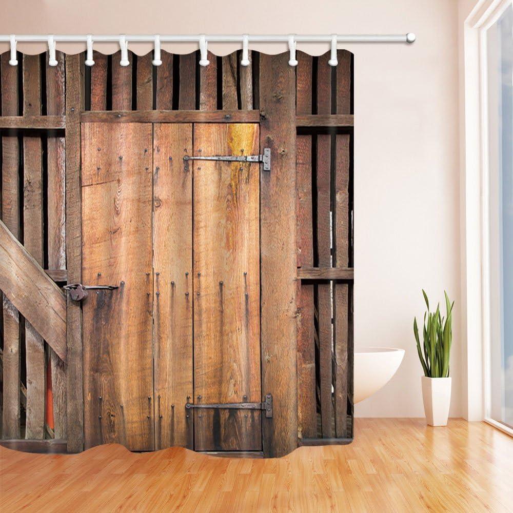 hisoho rústico viejo granero madera decoración, antiguo de madera garaje puerta cortinas de ducha, tela de poliéster resistente al agua cortina de baño, 71 x 71 en, cortina de ducha ganchos incluidos,