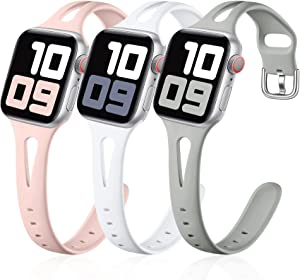 Getino Sport Band Compatible with Apple Watch 40mm 38mm Series 6 5 4 3 2 1 SE Bands for iWatch Women Men Soft Slim Silicone Wristband, 3 Pack, Pebble Gray, White, Pink Sand