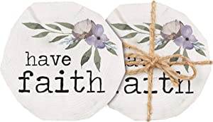 P. Graham Dunn Have Faith Floral Purple 4 x 4 Rough Sawn Timber Wood Log Coaster Pack of 4