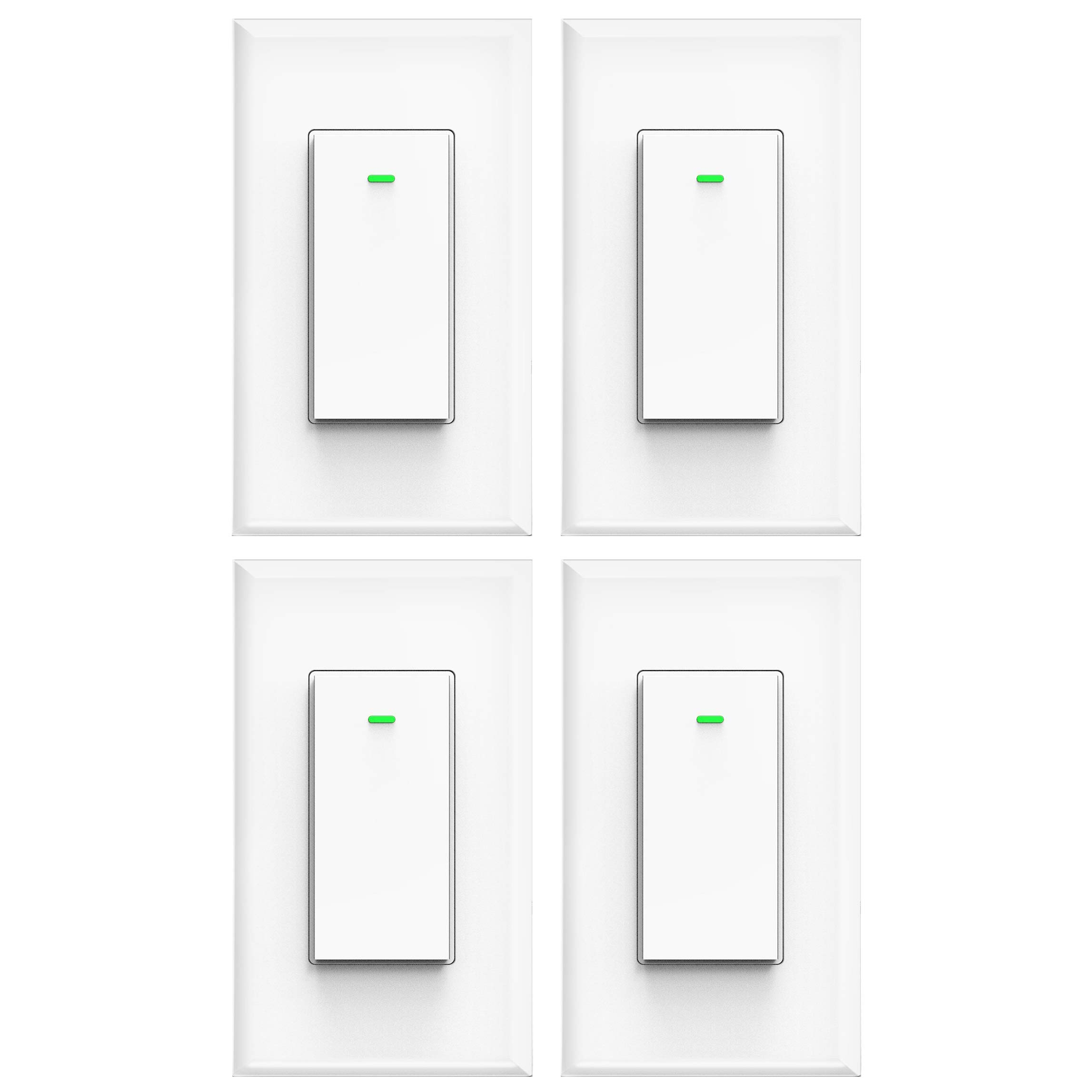 Smart light switch, works with Alexa, compatible with google assistant, IFTTT, No Hub Required, Smart home WiFi Wireless, Suit for 1/2/3/4 Gang Switch Box, Neutral Wire Required, White Micmi 4pack by micmi