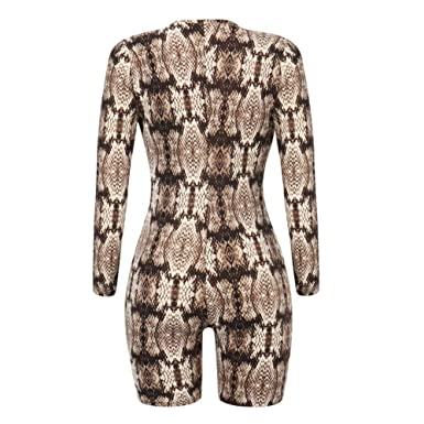 f83e3158a40 CHoppyWAVE Women Snakeskin Print Jumpsuit Sexy Deep V Women Long Sleeve  Slim Fit Shorts Romper at Amazon Women s Clothing store