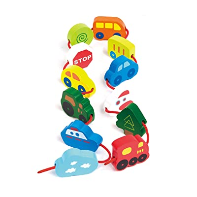 Hape Qubes Lacing Vehicles Toddler Wooden Block Playset: Toys & Games