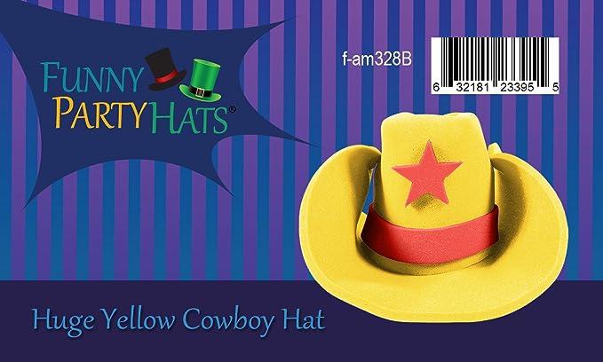 dc73cfaed32 Yellow Giant Foam Western Cowboy Hat  Amazon.co.uk  Toys   Games