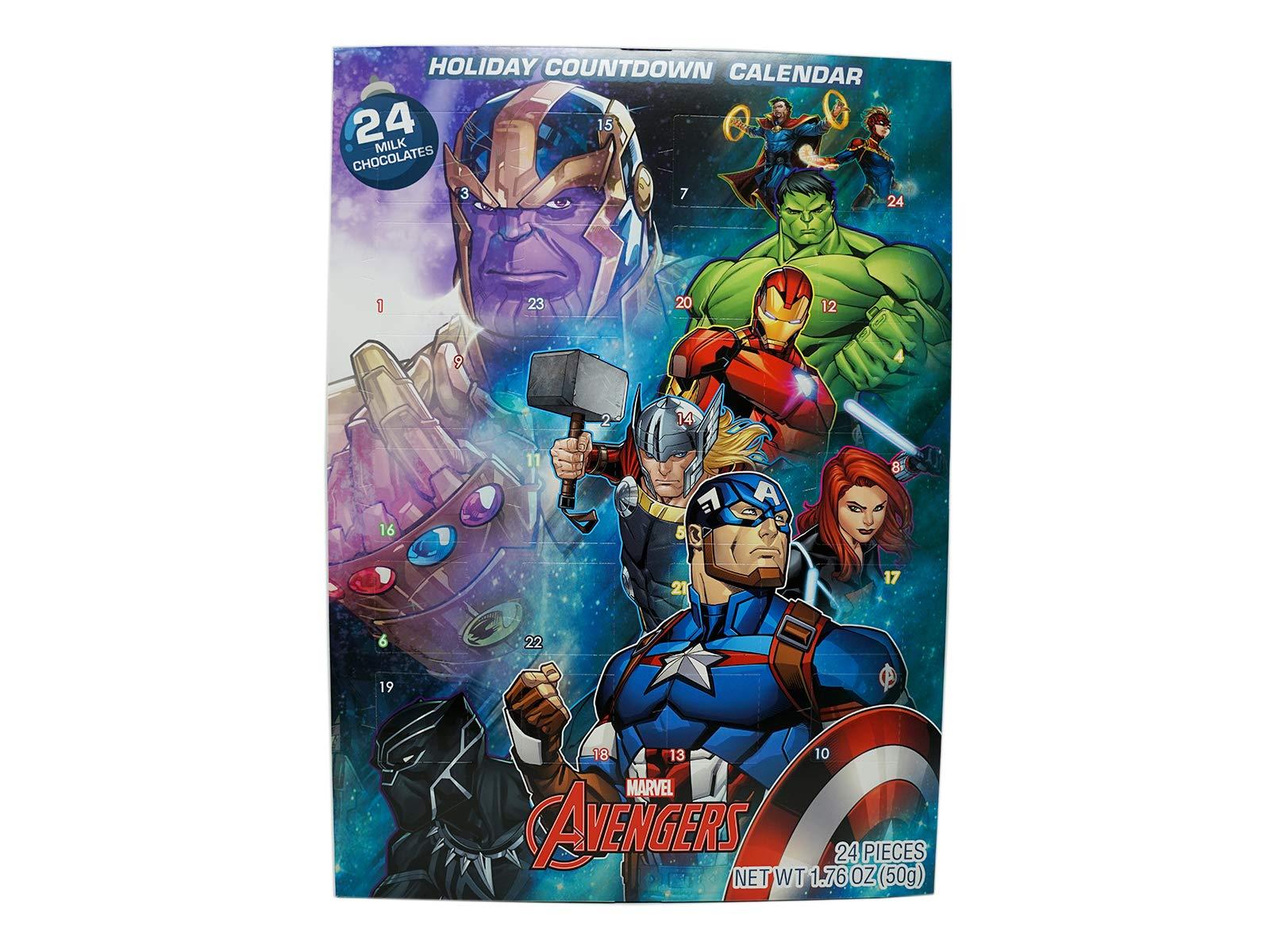 Marvel Avengers 2020 Christmas Advent Countdown Calendar with 24 Milk Chocolate Pieces, 1.76 oz