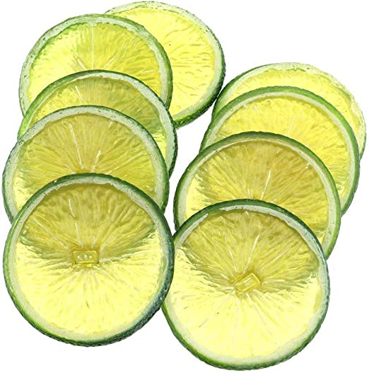 6Pcs Artificial Green Lemon Slice Decorative Plastic Fake Food Fruit Home Decor
