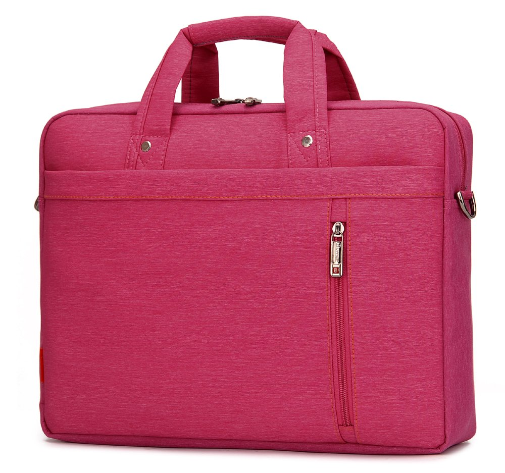 Burnur 17 17.3 Inch Pink Waterproof Nylon Laptop Messenger Bag Shoulder Bag with Convex Buffer Pad