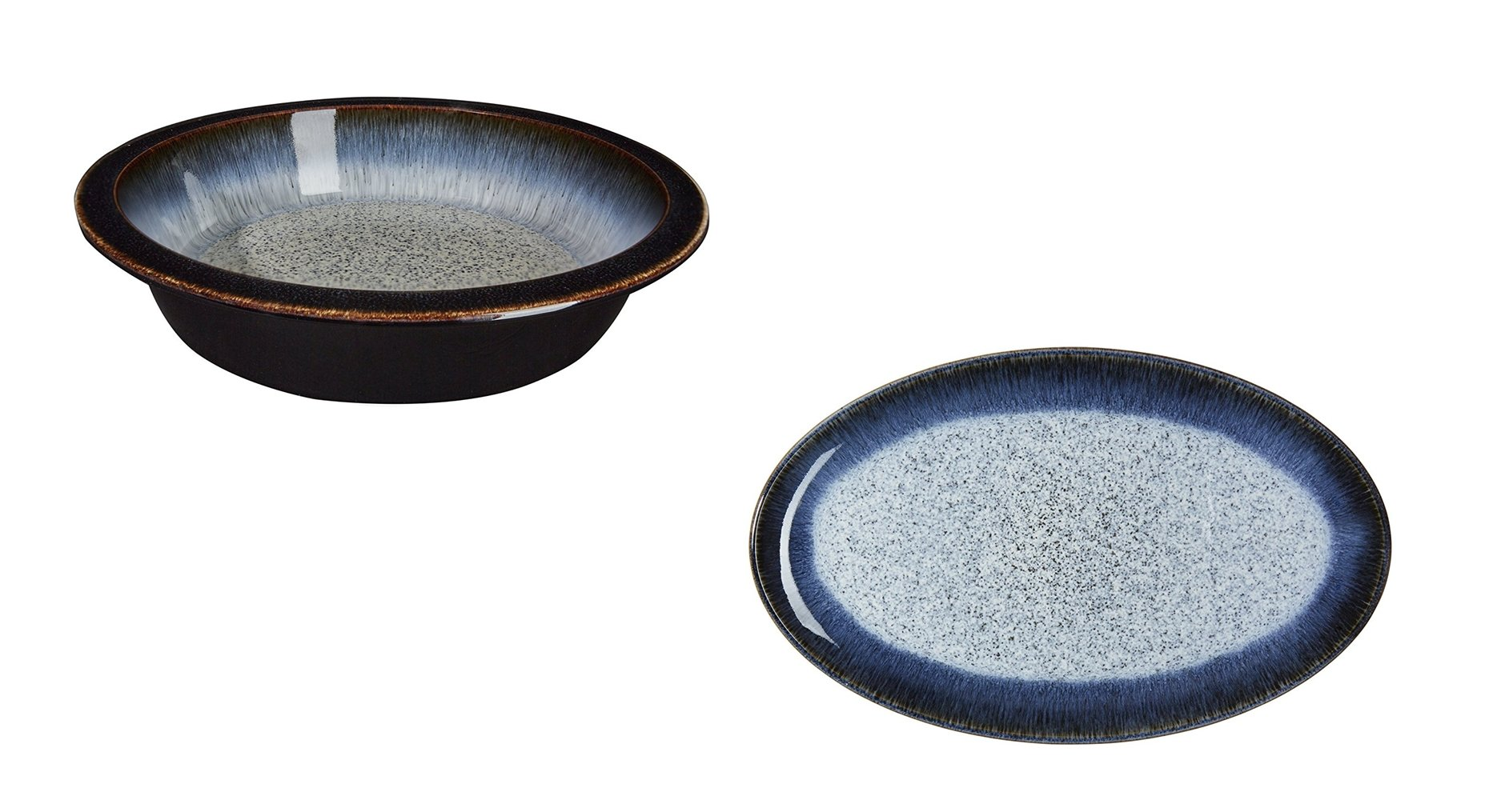 Denby Halo Round Pie Dish and Oval Platter, Set of 2