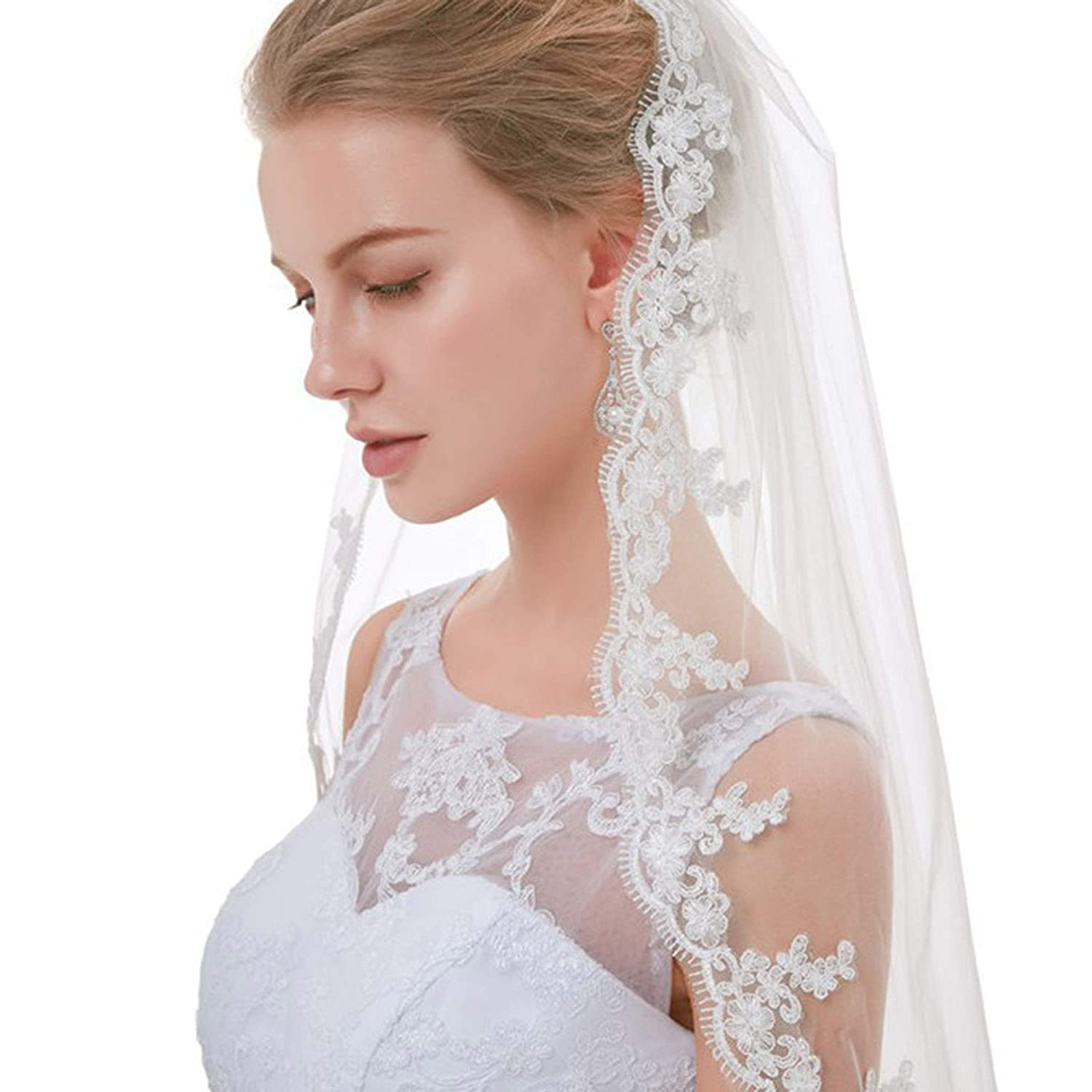 0.9M Beautyflier Bridal Veil Fingertip Length 1 Tier Floral Embroider Lace Edge Wedding Veil with Comb