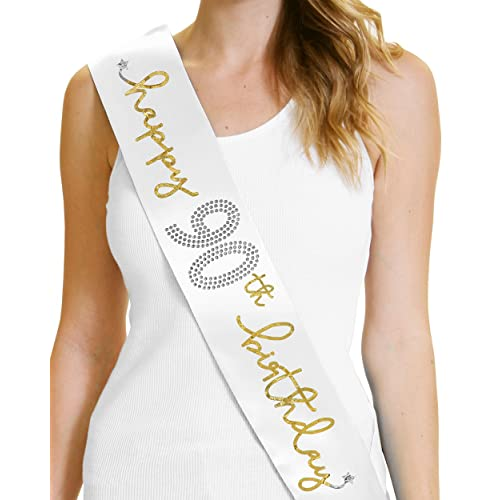 90th Birthday Party Decorations Happy Sash By RhinestoneSash