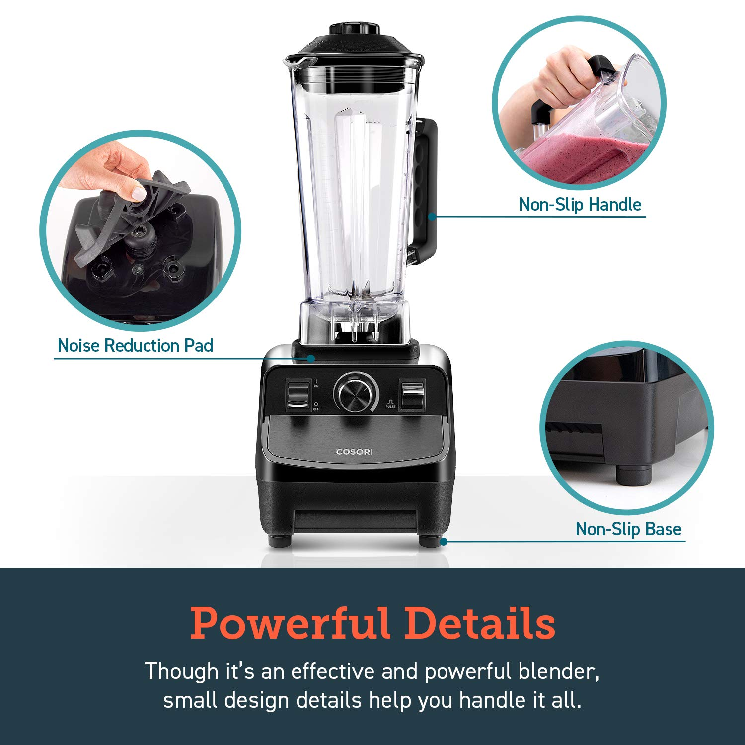 COSORI Blender for Shakes and Smoothies(50 Recipes),1400W Heavy Duty Professional Blender for Crushing Ice, Frozen Fruit with 64oz Pitcher&20oz Travel Bottle,2-Year Warranty,ETL Listed/FDA Compliant by COSORI (Image #5)