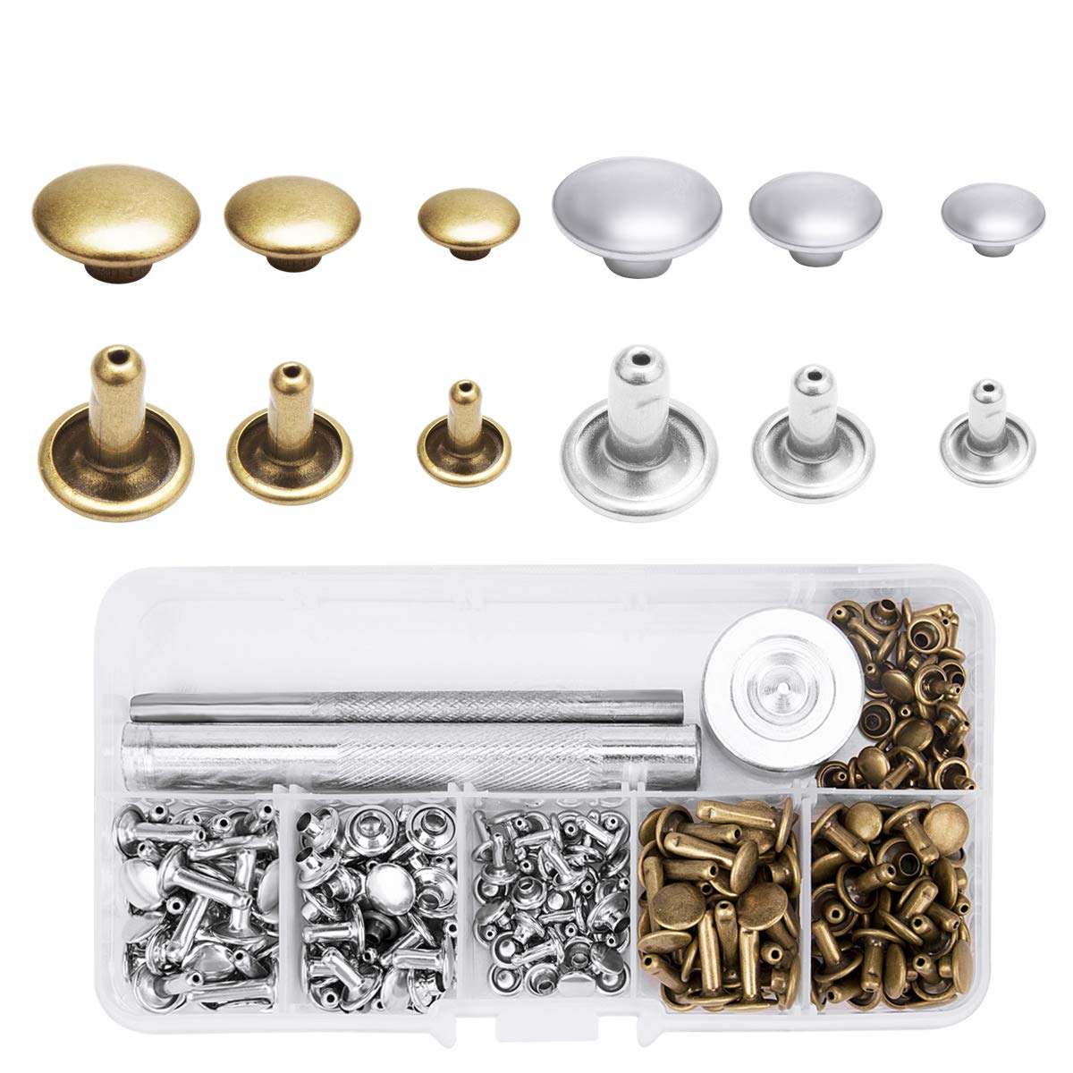 Aprince 123 Pieces Leather Rivets Copper Double Cap Rivet Buttons Metal Rivet Snap with Setting Tool Kit and Storage Box for DIY Leather Craft Repair Clothes Bag Shoes Hat 3 Sizes (Silver and Bronze)