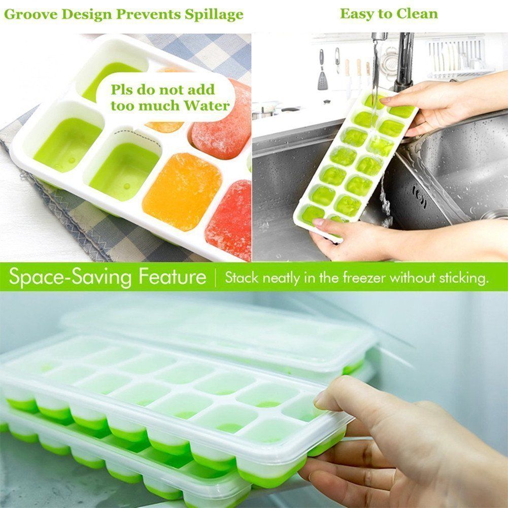 Ice Cube Trays Silicone,Ice Cube Mold Ice Tray Spill Resistant Lids 4 Pack and Flexible Reusable 14-Ice Trays Set with Lid Stackable BPA Free Dishwasher Safe Ice Cube Maker Storage Containers by SBC (Image #4)