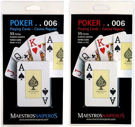 Maestros Naiperos- baraja Poker, Jumbo, inglés, 55, Cartas, Blister, Calidad Casino Popular, Color Azul y Rojo (423997): Amazon.es: Juguetes y juegos