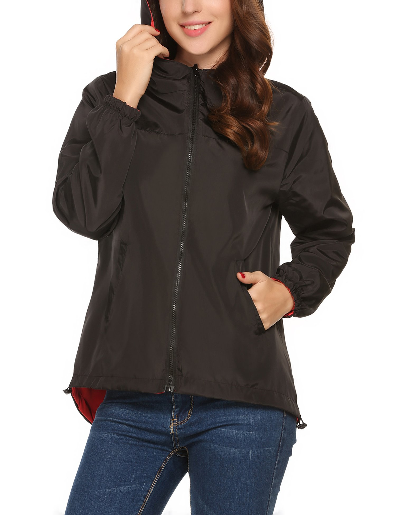 UNibelle Women Waterproof Rain Jacket Hoodie Windproof Outdoor Coat Venture Windbreaker(Black Red,X-Large)