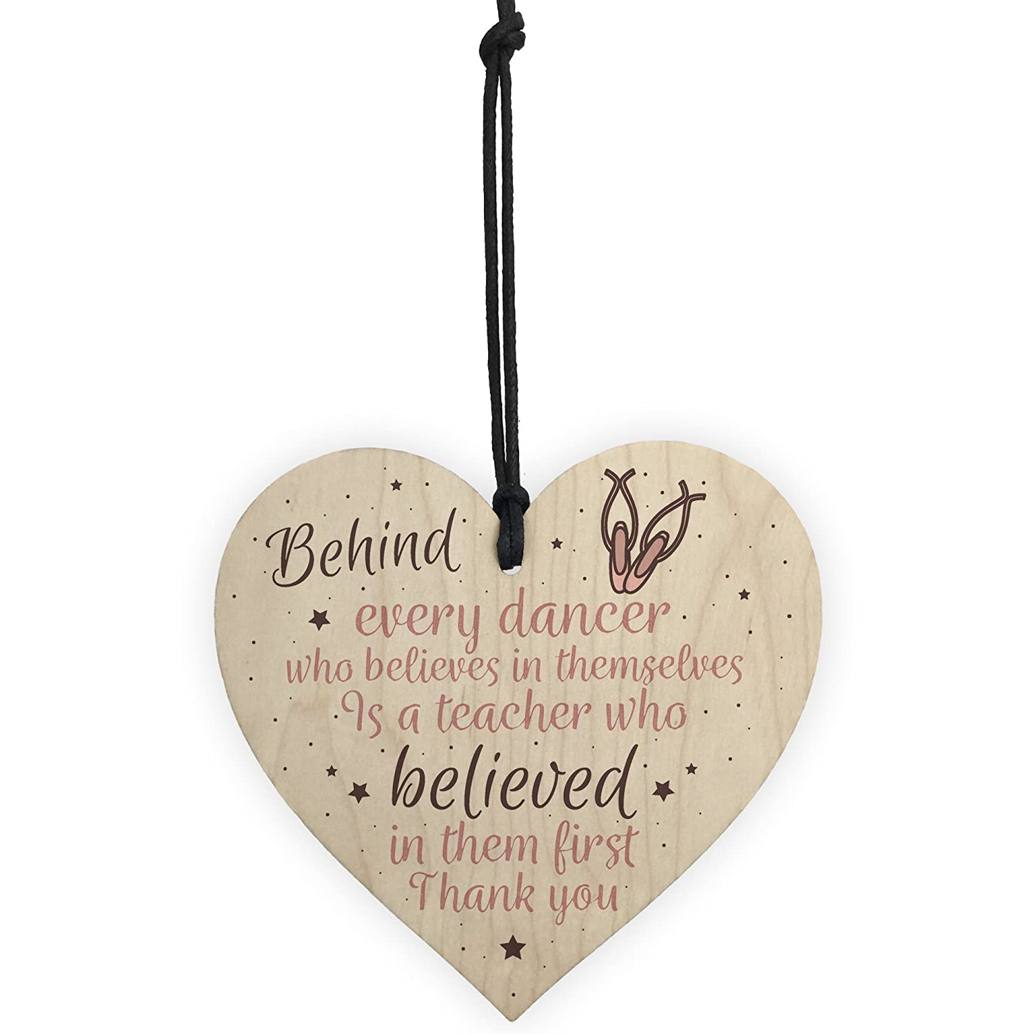 XLD Store Thank You Dance Teacher Gift Wooden Heart Special Goodbye Gifts For Her Friendship Sign