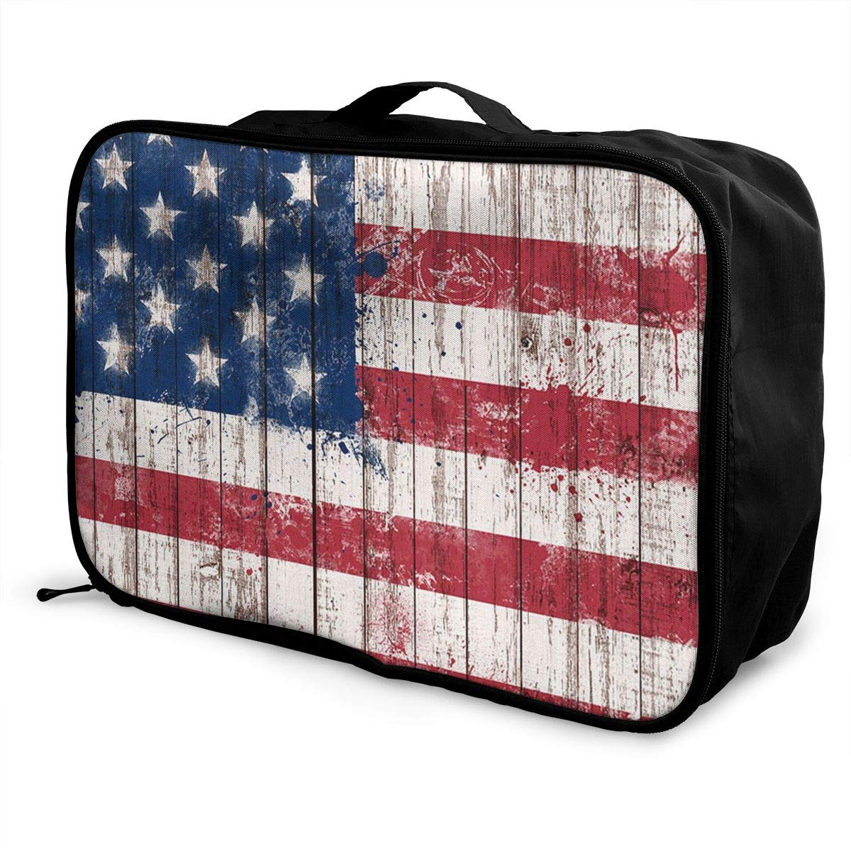 YueLJB Distressed American Flag Wood Lightweight Large Capacity Portable Luggage Bag Travel Duffel Bag Storage Carry Luggage Duffle Tote Bag