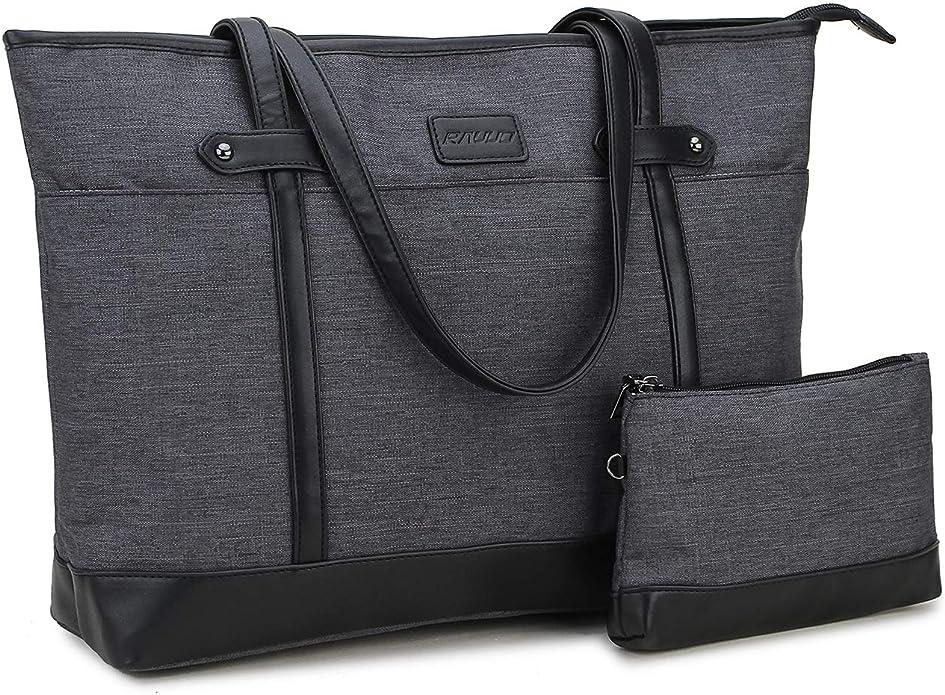 Voovc Environmental Protection Women Canvas Easter Lily Laptop Tote Bag Fits 15.6 Computer Handbag Purse Shoulder Bag for Work Travel