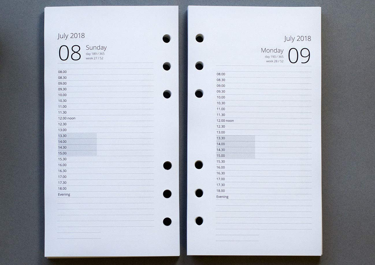 Custom Start Month 2019 A5 - Starting March Mid- Year A5 Appointment Day per Page Refills 2018-2019