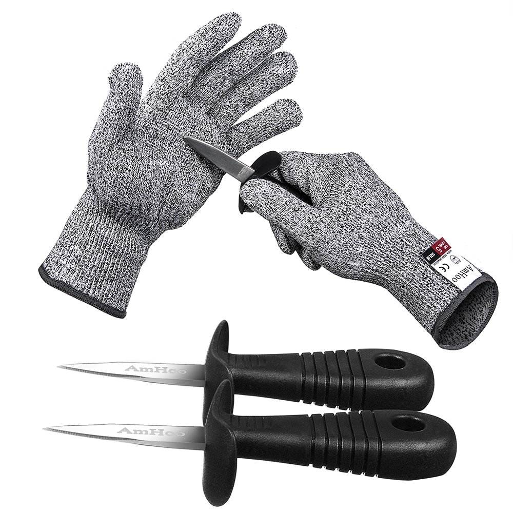Oyster Knife Shucker Cut Resistant Glove Set Level 5 Protection Stainless Steel Clam Shellfish Seafood Opener EN388 Certified Food Grade by AmHoo (1 pair gloves + 2 knives) (M)