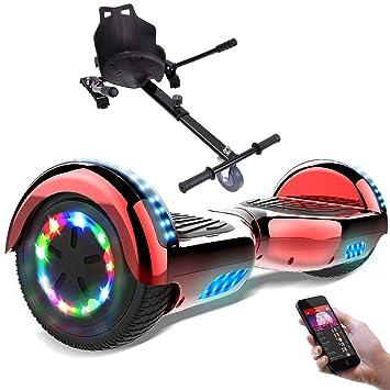 RCB Hoverboard Patinete Eléctrico Scooter de Auto-Equilibrio Luces LED Integradas con Hoverkart Go-Kart Bluetooth Regalo para Niños y Adultos UL2272 ...