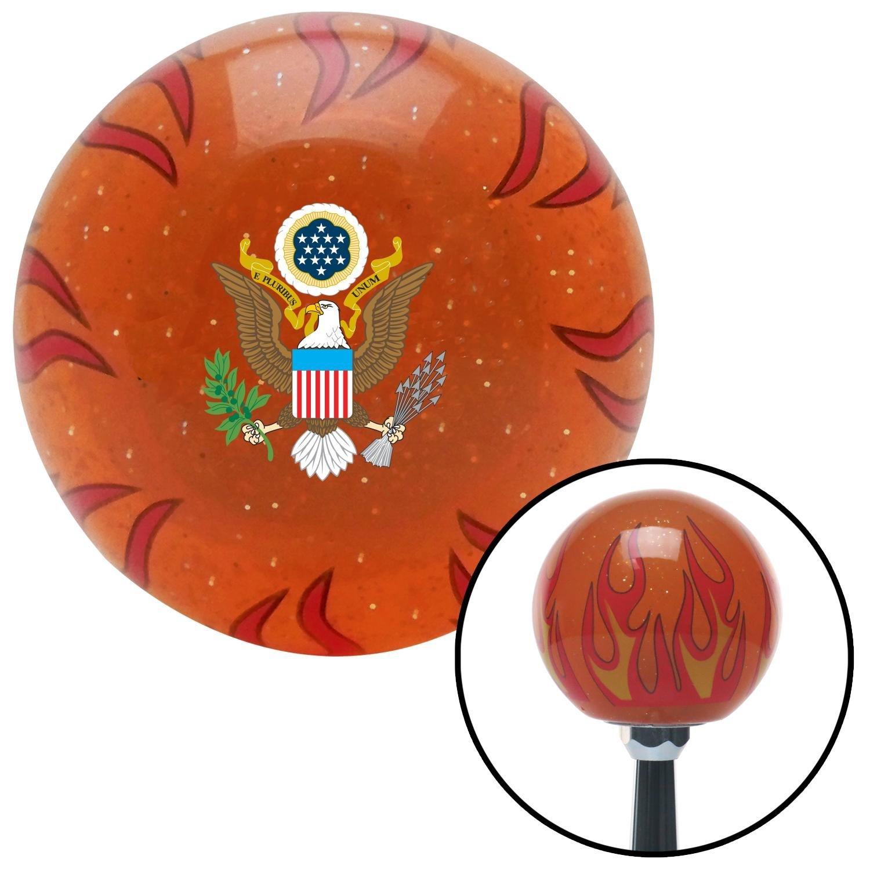 American Shifter 260168 Orange Flame Metal Flake Shift Knob with M16 x 1.5 Insert USA Eagle