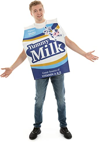 Wholesome Milk Carton One-Size Halloween Costume - Funny Food Adult Unisex Suit White