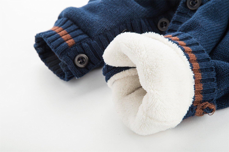 Merciy Maglione Bambino Tutine Neonato Bambino Appena Nato del Pagliaccetto del Bambino della Tuta a Maniche Lunghe Natale magliata Abbigliamento da Bimbi Cotone Velluto Cardigan