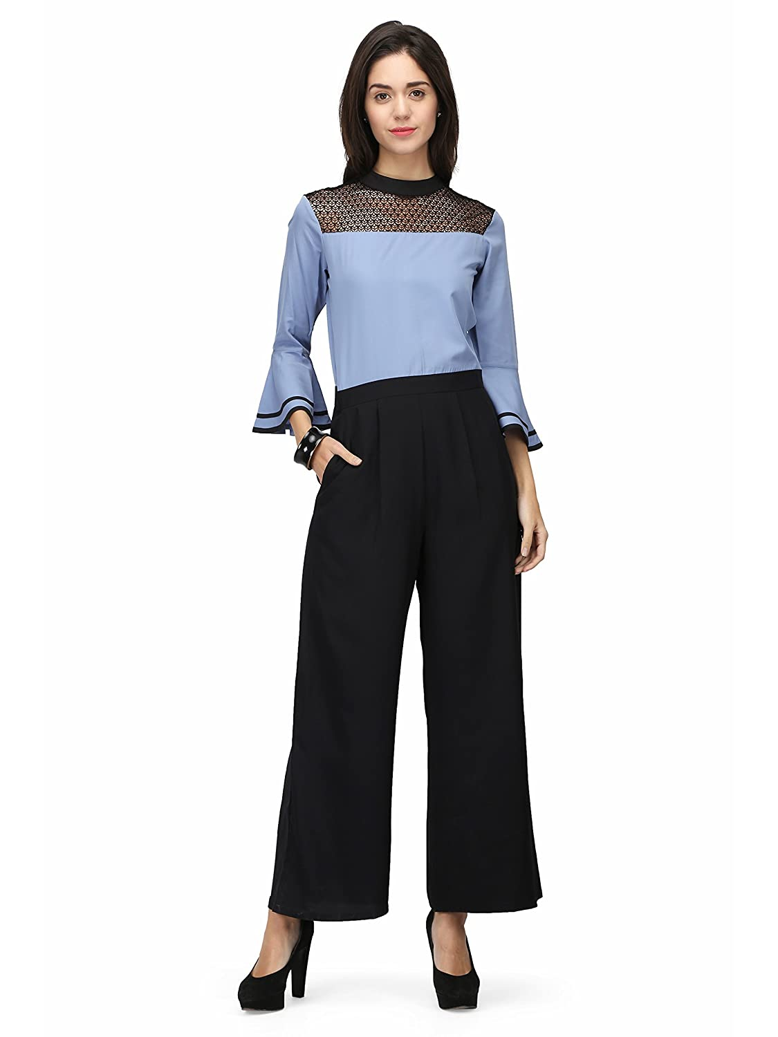 748ace30d97 Eavan Women s Black   Blue Flared Jumpsuit  Amazon.in  Clothing    Accessories