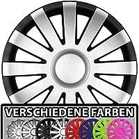 (Farbe & Größe wählbar!) 15 Zoll Radkappen AGAT (Schwarz-Silber matt) passend für fast alle Fahrzeugtypen (universal)