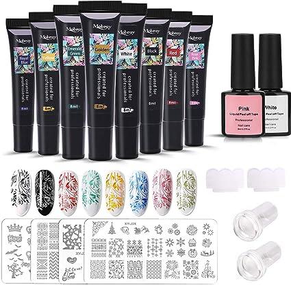 Esmaltes de Gel Estampado Uñas Kit, MYSWEETY 8 Colores Nail Art Stamping Gel Set con 4 Estampado Uñas Mandala, 2 Raspadores, 2 Estampadores Silicona: Amazon.es: Belleza