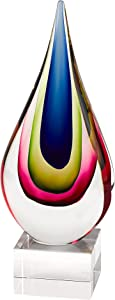 """Badash Essence Murano-Style Art Glass Centerpiece - 12"""" Tall Mouth-Blown Teardrop Glass Sculpture on Crystal Base - Contemporary Home Decor Accent Piece"""