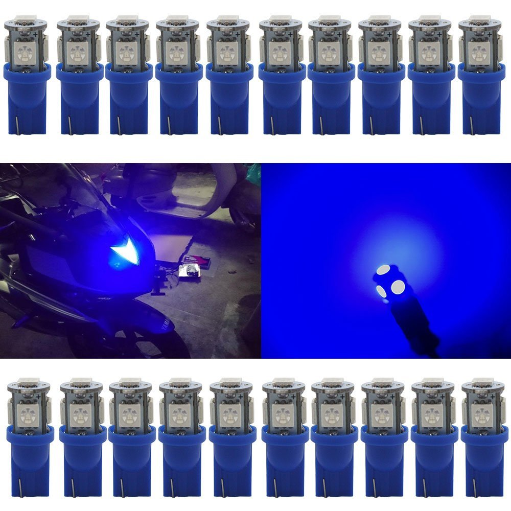 JAVR - Pack of 20 - Bright Blue 194 T10 168 2825 W5W Car Interior Replacement LED Light Bulb - 5th Generation 5050 Chipsets 5SMD Lighting Source for 12V License Plate Map Dome Lights Lamp (Blue) Defansy