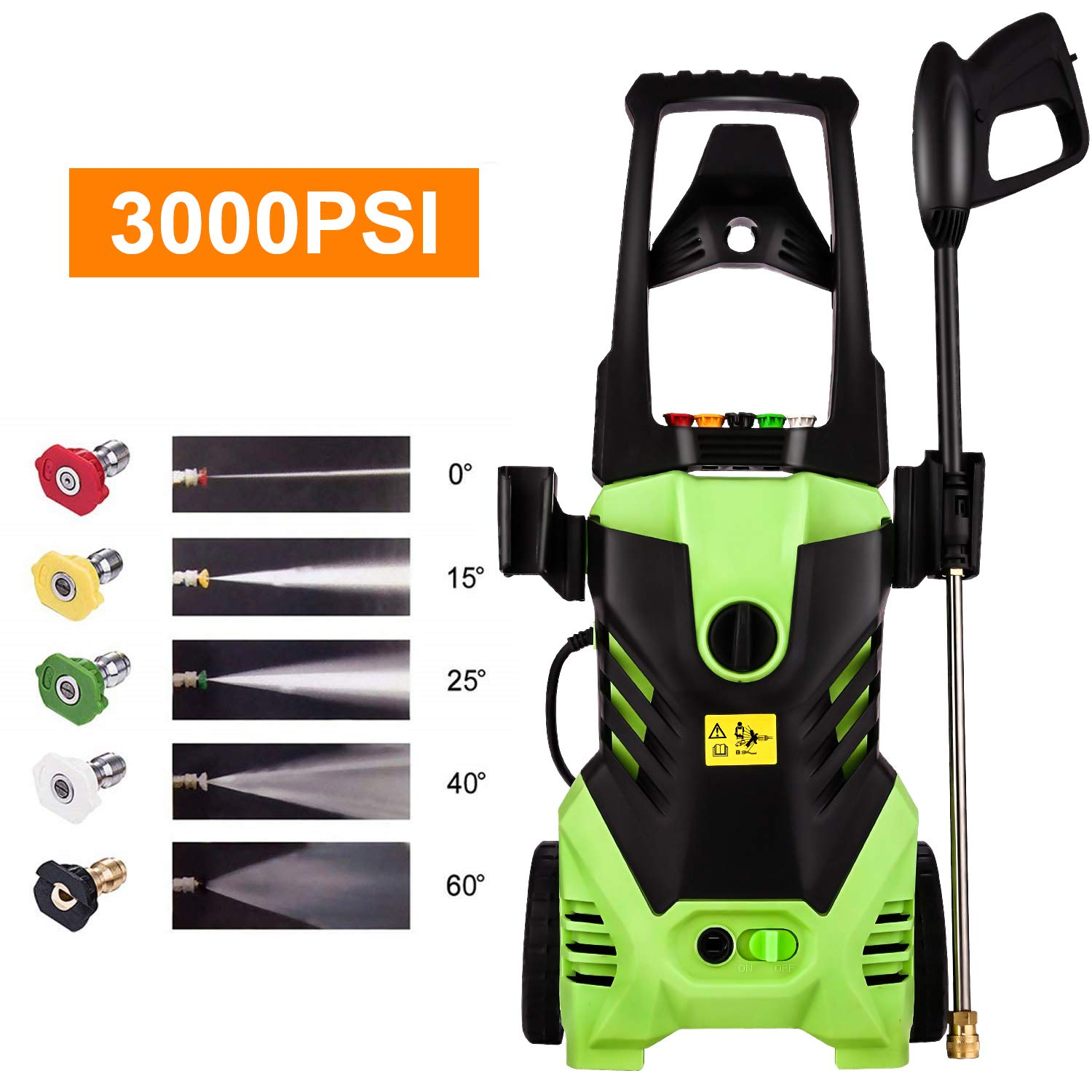 Homdox 3000PSI Pressure Washer Power Washer Cleaner 1800W Powerful Portable Storage Machine for Car/Vehicle/Patio/Driveway/Floor/Wall/Furniture /5 Nozzles