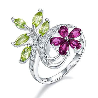 e83a8fcef Hutang Natural Gemstone Garnet Peridot Silver Flower Wedding Ring Solid 925  Sterling Fine Fashion Stone Jewelry