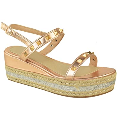 f39da8971bc4b Fashion Thirsty Womens Espadrilles Flatform Studded Sandals Low Heel Wedges  Platform Size