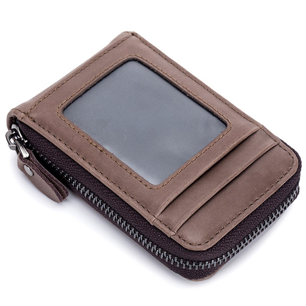 TACOO Card Wallet Retro Leather ID Window Slim 13 Card Slot Business Card Holder