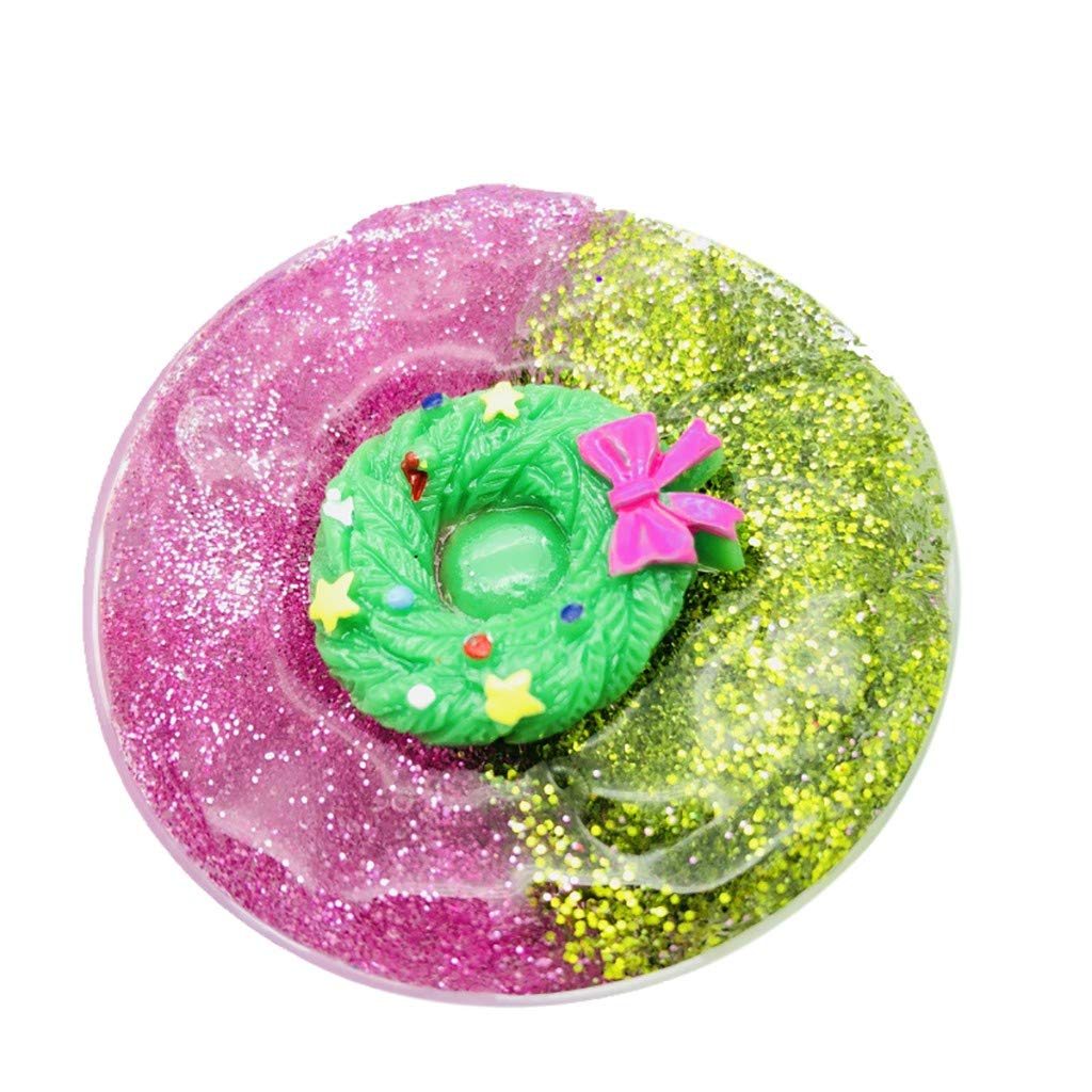 Slime Charms Mud - Kariwell Christmas Snowflake Santa Claus Cloud Slime Squishy Putty - Scented Stress Kids Clay Toy (D)