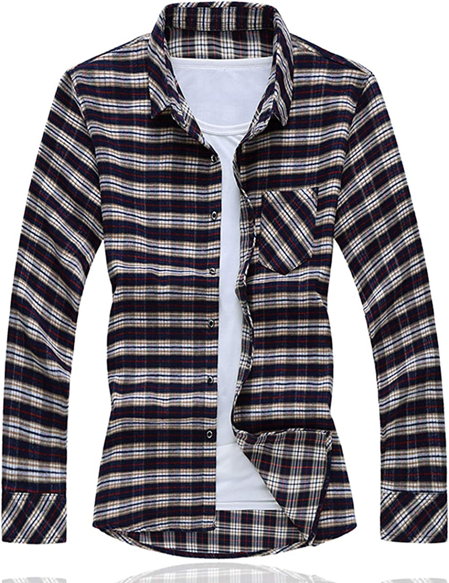 Libithia Men Plaid Casual Shirts Long Sleeve Autumn 2019 Clothes Male A67
