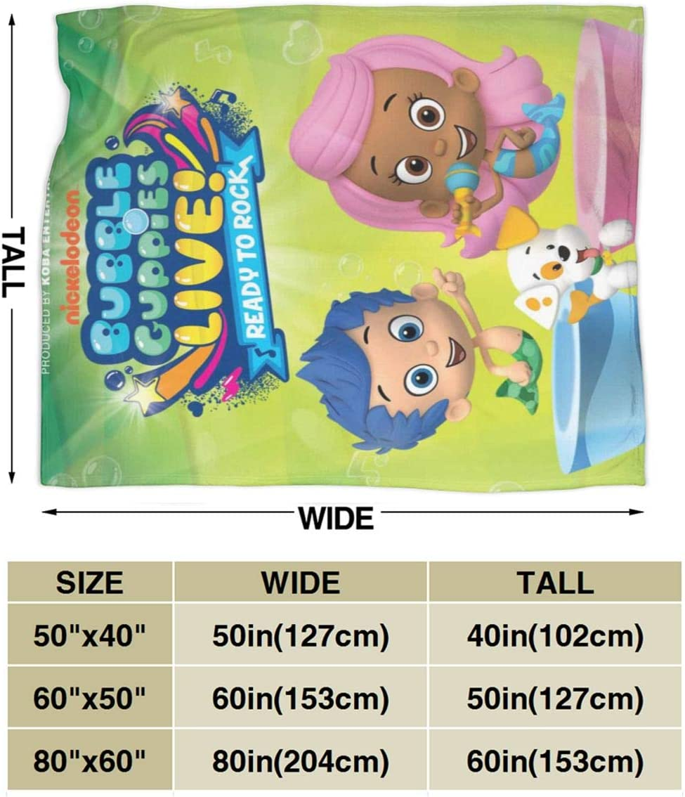 Bubble Guppies Fleece Blanket Ultra Soft Micro Decorative Bedspread Summer Throw Warm Flannel Blankets Lightweight Microfiber All Season For Children Kids Boys Girls Gift For Bed Sofa Couch 50X40 inch