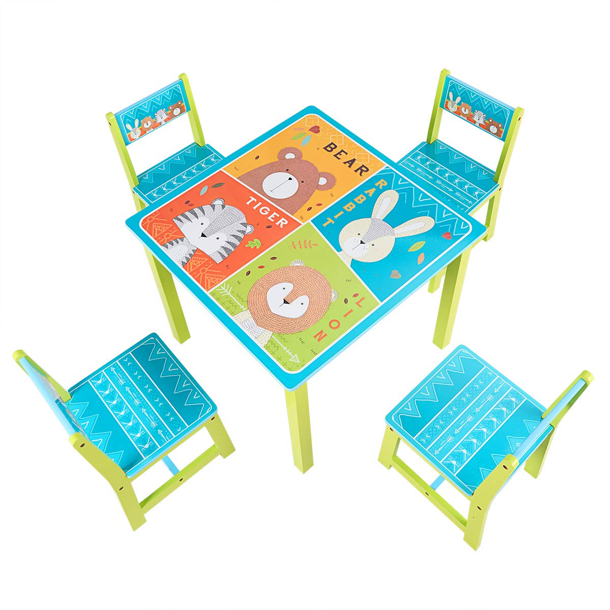BABY JOY Kids Table and 4 Chairs Set, Wooden MDF Desk for Studying Playing Dining Indoors & Outdoors Activity, Toddler Baby Gift Desk Furniture Cartoon Pattern (Table and 4 Chairs) by BABY JOY (Image #5)