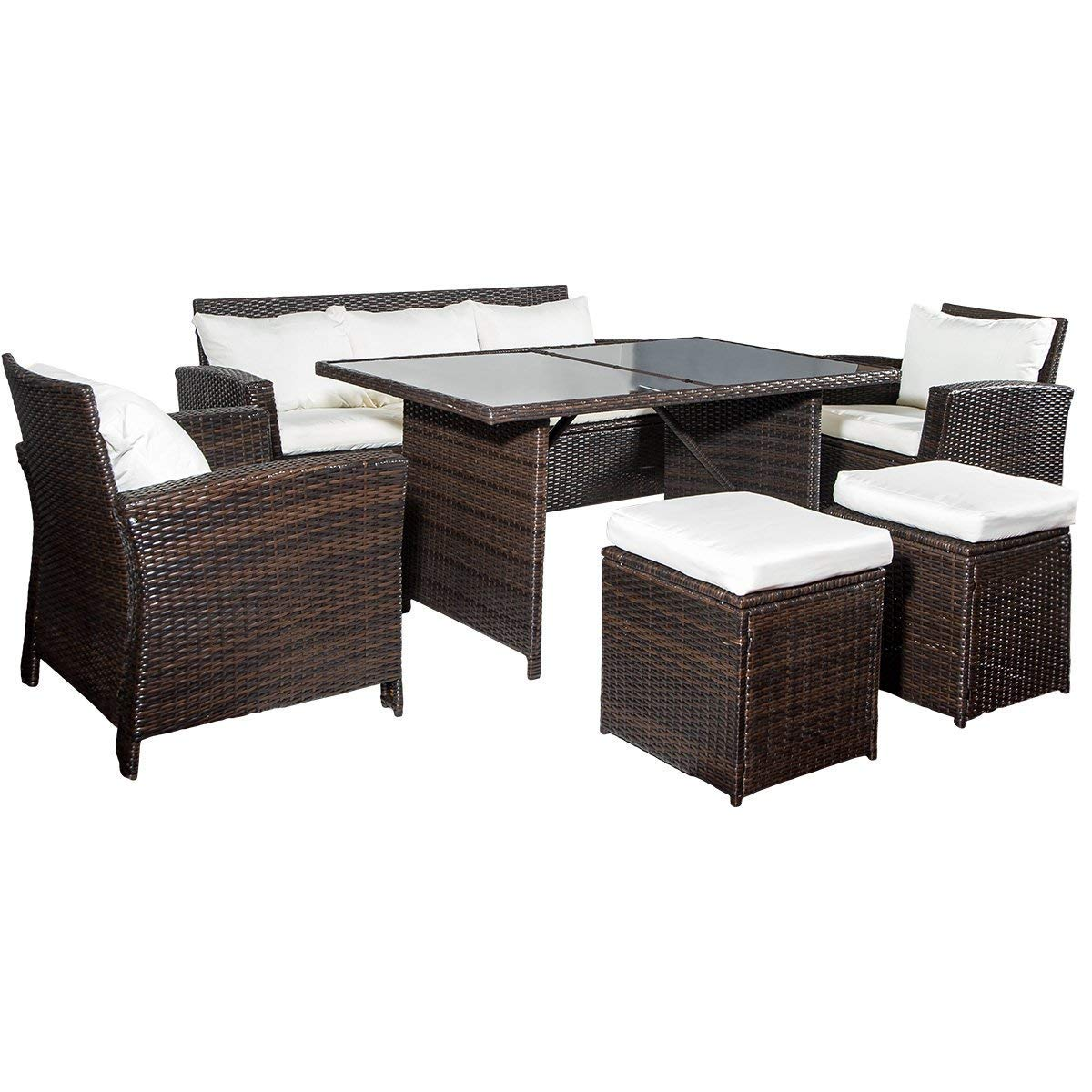 Merax 6-Piece Patio Furniture Dining Set Outdoor Living Wicker Sofa Set (Beige Cushion)