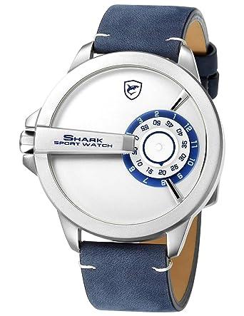 6a5682ee5 Shark Sport Watch, Leather Band Unique Turntable Dial No Hand Design Men's  Analog Quartz XXL